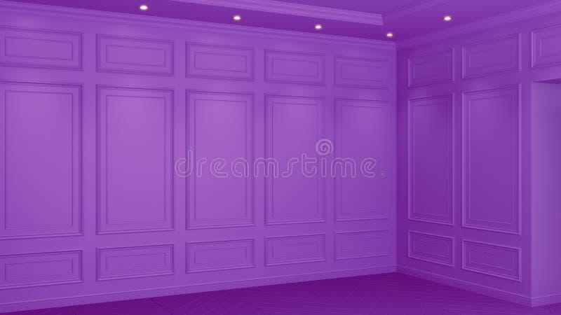 Klassisk purpurf?rgad inre med kopieringsutrymme R?da v?ggar med den klassiska dekoren Golvparkettfiskbensm?nster framf?rande 3d stock illustrationer