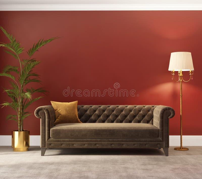 Klassisk röd inre med sammetsoffan royaltyfria bilder