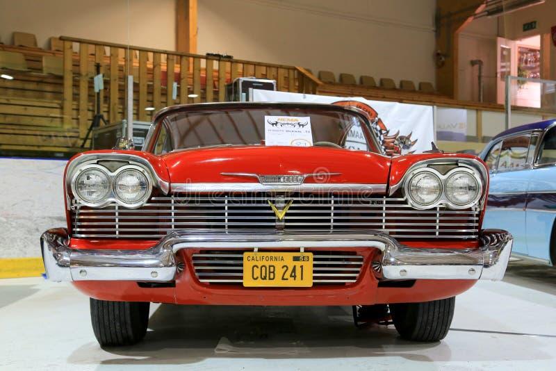 Klassisk röd Plymouth Belvedere 1958 royaltyfria foton