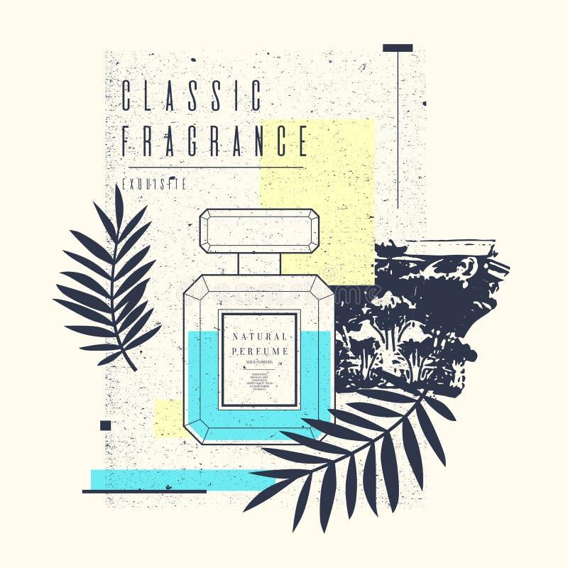 Klassisk retro flaska av doft på en grungebakgrund stock illustrationer