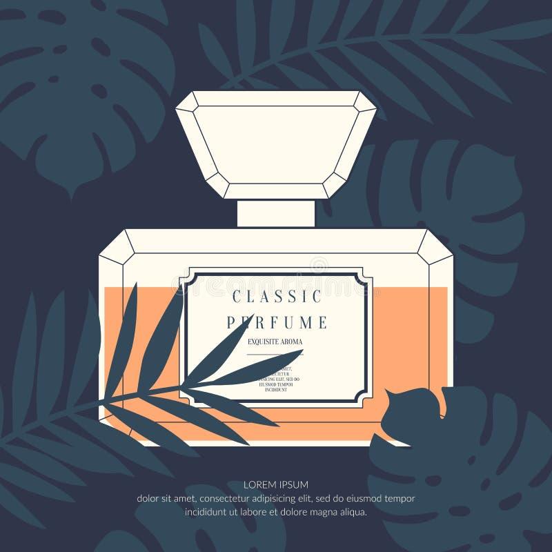 Klassisk retro flaska av doft på en tropisk bakgrund stock illustrationer