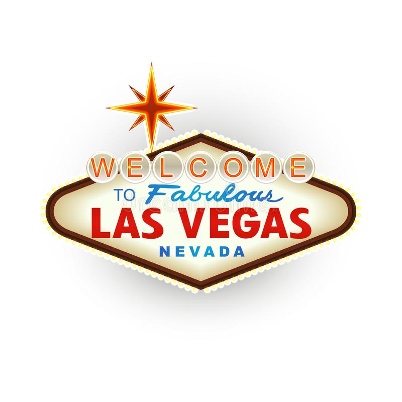 Klassisk retro välkomnande till det Las Vegas tecknet vektor stock illustrationer