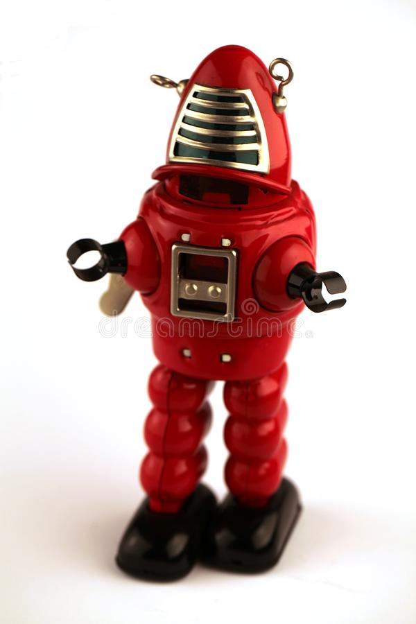 Klassisk robottennleksak i ljusa f?rger fotografering för bildbyråer