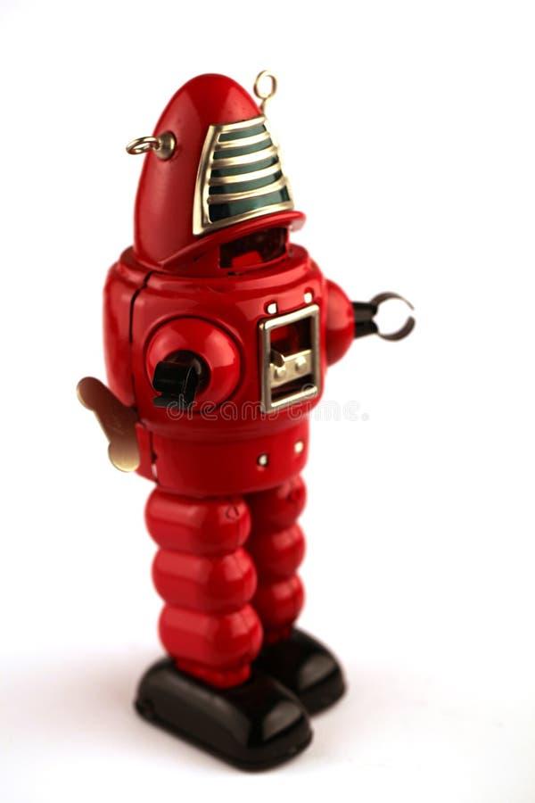 Klassisk robottennleksak i ljusa f?rger royaltyfri fotografi