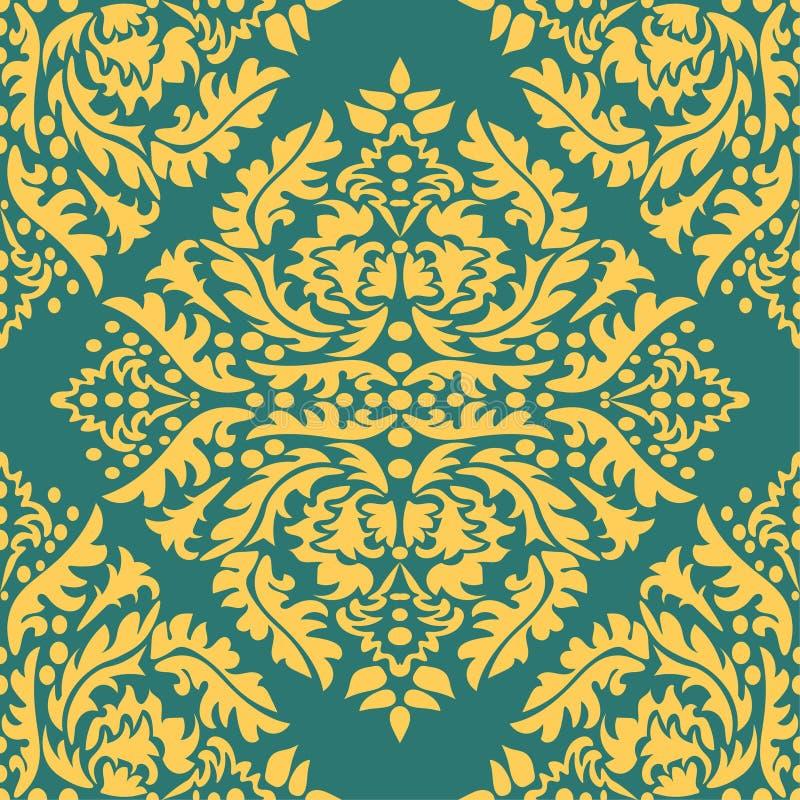 Klassisk s?ml?s vektormodell Damast Orient gul prydnad arket f?r klassiskt kaffe f?r bakgrund befl?cker det gammala paper vektorv royaltyfri illustrationer