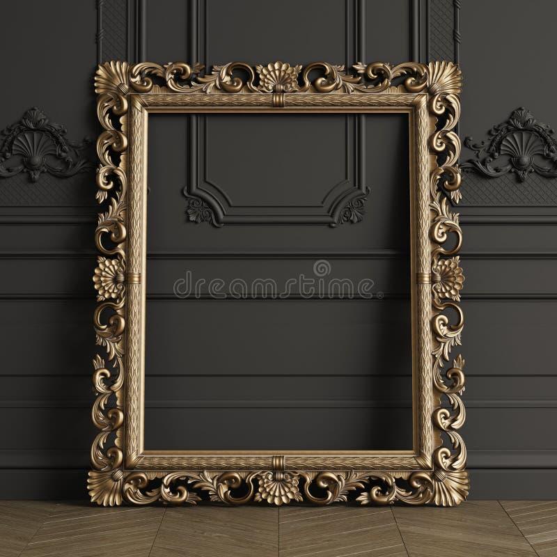 Klassisk sniden spegelrammodell med kopieringsutrymme stock illustrationer