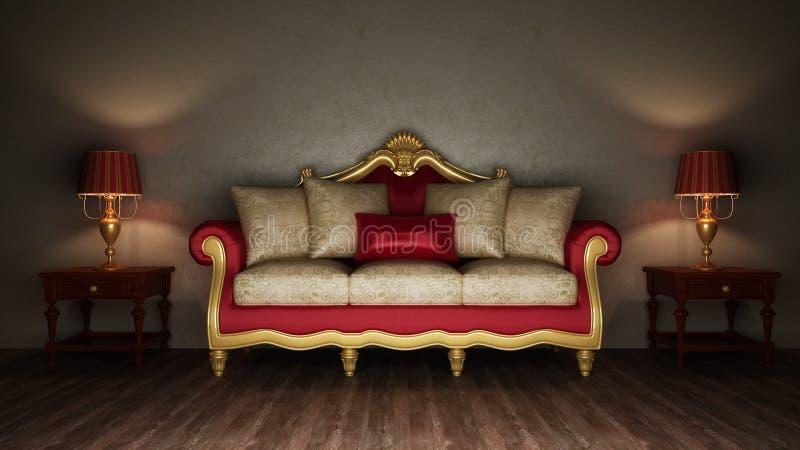 klassisk sofa två för skrivbordlampa stock illustrationer