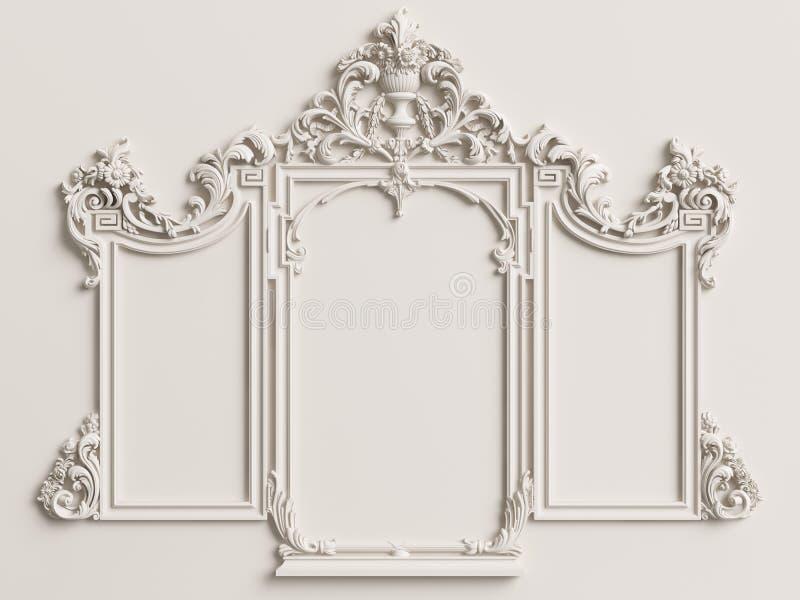 Klassisk spegelram på den vita väggen royaltyfria bilder