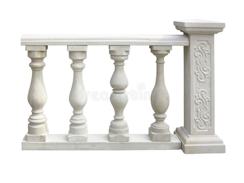 Klassisk stenbalustrad med kolonnen som isoleras över vit royaltyfri bild