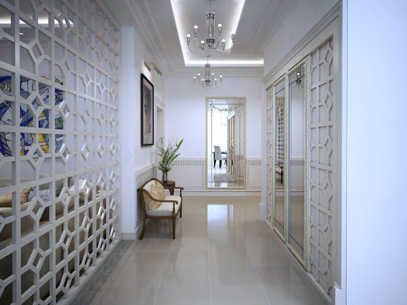 Klassisk stil för Hall korridor royaltyfri foto
