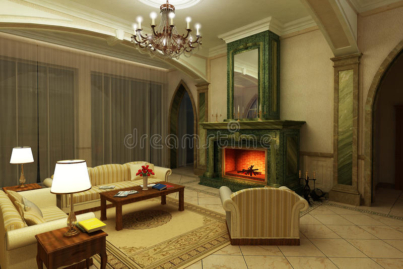 klassisk stil för livingmarmorlokal royaltyfri bild