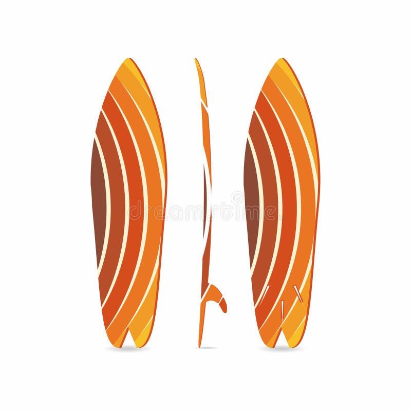 klassisk surfingbräda Tre-sidsurfingbrädaillustration Tre projektioner Färgrikt runt fiskbräde stock illustrationer
