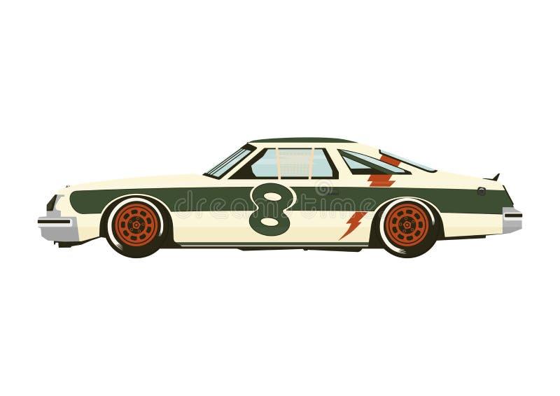 Klassisk tävlings- bil från seventiesna royaltyfri illustrationer