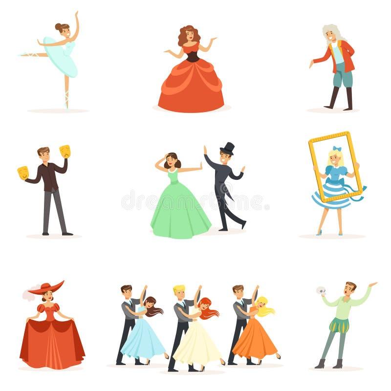 Klassisk teater och konstnärlig serie för sceniska kapaciteter av illustrationer med opera-, balett- och dramaaktörer på vektor illustrationer