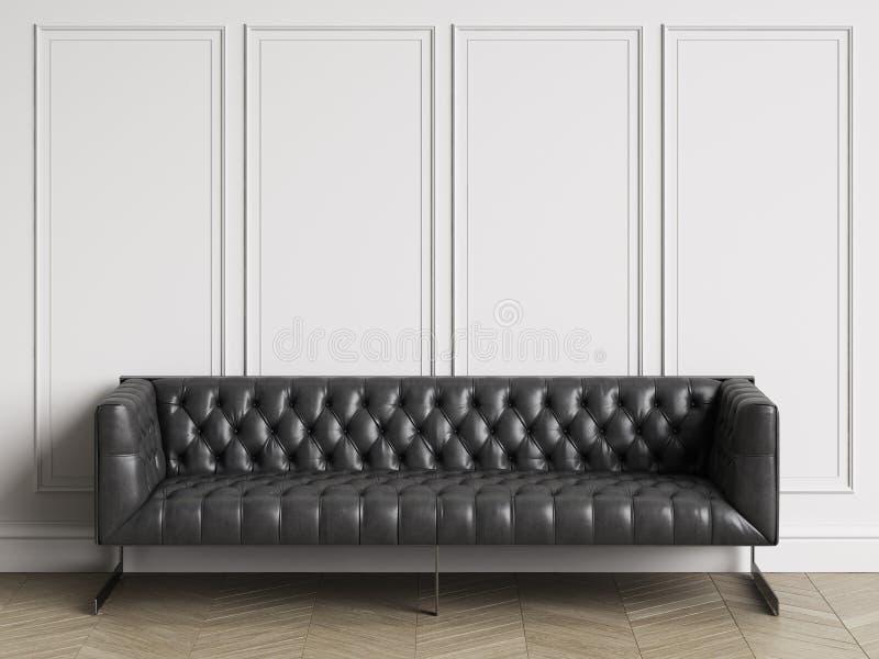 Klassisk tufted soffa i svart läder i klassisk inre med kopieringsutrymme royaltyfri illustrationer