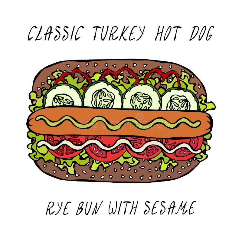 Klassisk Turkiet varmkorv på en sesambulle med grönsallatsallad, tomat, gurka, senap, ketchup Gatasnabbmatsamling Realis vektor illustrationer
