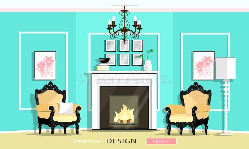 Klassisk uppsättning för tappningstilmöblemang i en vardagsrum: spis fåtöljer, ljuskrona, lampa Plan stil royaltyfri illustrationer