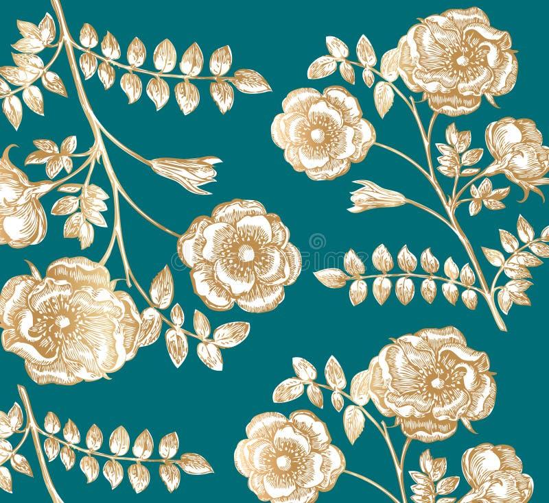 klassisk vägg för blommapappersmodell stock illustrationer