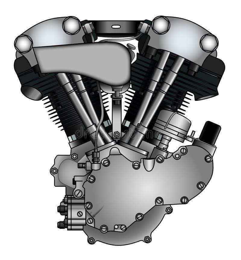 Klassisk V-tvilling- motorcykelmotor vektor illustrationer