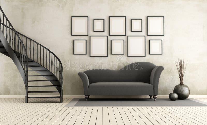 Klassisk vardagsrum med den runda trappuppgången vektor illustrationer