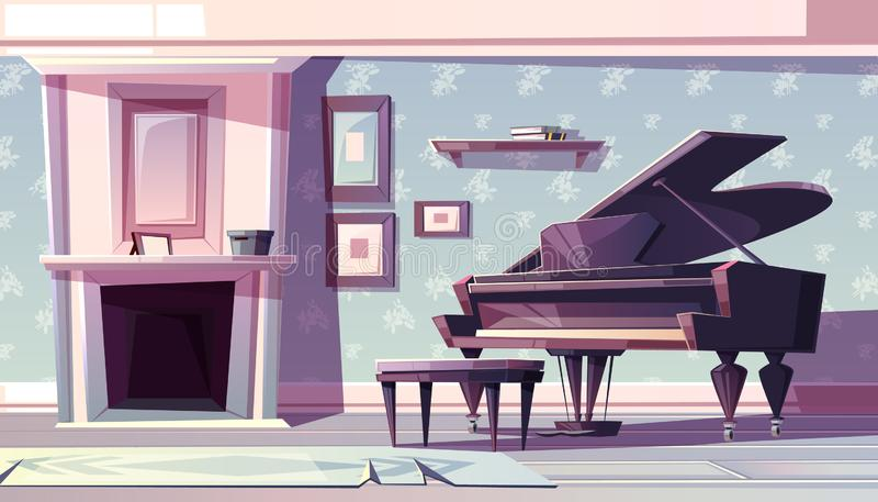 Klassisk vardagsrum med pianotecknad filmvektorn royaltyfri illustrationer