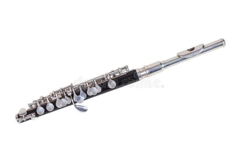 Klassisk vindmusikinstrumentFlöjt-pickolaflöjt som isoleras på vit bakgrund royaltyfria foton