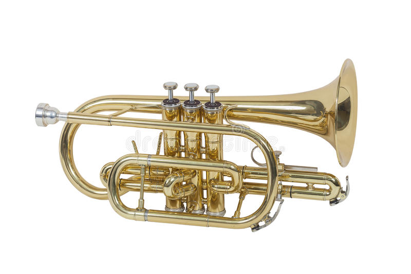 Klassisk vindmusikinstrumentkornett som isoleras på vit bakgrund arkivbild