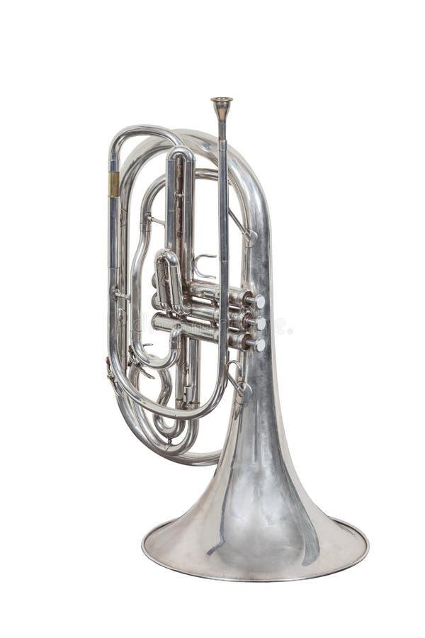 Klassisk vindmusikinstrumentvalthorn som isoleras på vit bakgrund arkivbild