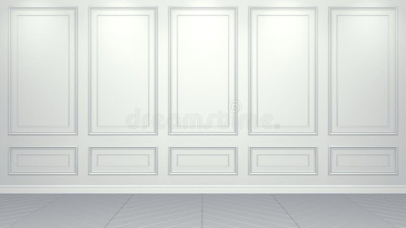 Klassisk vit inre bosatt tolkning för studiomodell 3D Tomt rum f?r din montage Copyspace royaltyfri illustrationer
