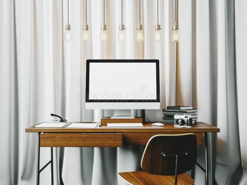 Klassisk workspace med vitrullgardiner på arkivfoton