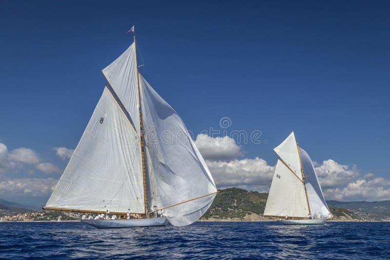 Klassisk yachtregatta - Shooner ELENA/dropp för Gaff skärareMÅNSTRÅLE arkivbild