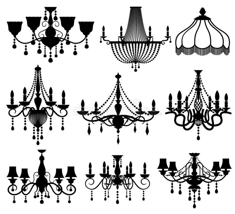 Klassiska antika eleganta ljuskronor för crystal exponeringsglas svärtar vektorkonturer stock illustrationer