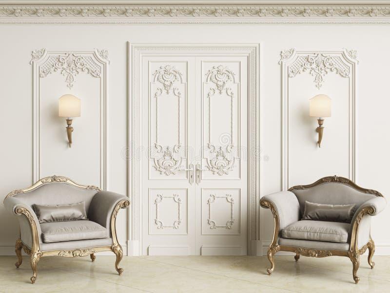 Klassiska barocka armchais i klassisk inre vektor illustrationer