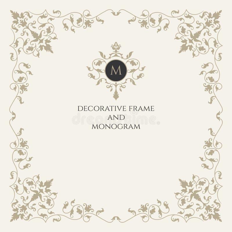 Klassiska beståndsdelar Monogram och ram Klassiska designbeståndsdelar för att gifta sig inbjudningar royaltyfri illustrationer
