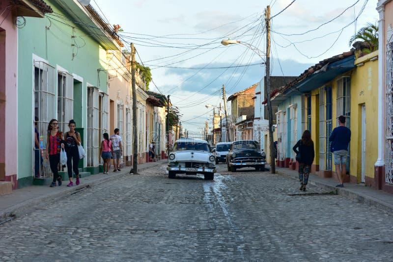 Klassiska bil- Trinidad, Kuba arkivfoto