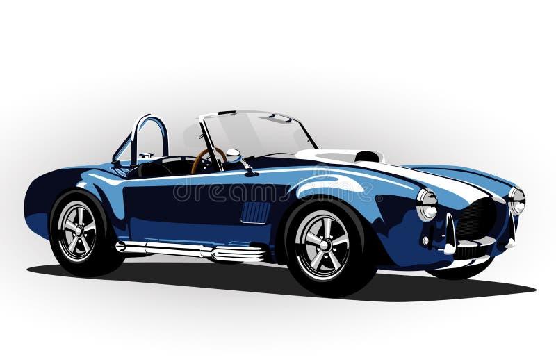 Klassiska blått för roadster för kobra för sportbil royaltyfri illustrationer
