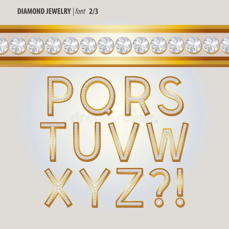 Klassiska Diamond Jewelry Alphabet Vector vektor illustrationer