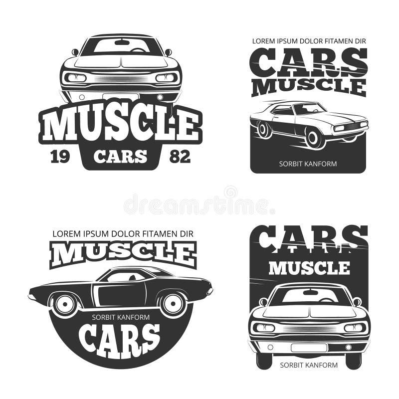 Klassiska etiketter för vektorn för muskelbiltappning, logoen, emblem, förser med märke royaltyfri illustrationer