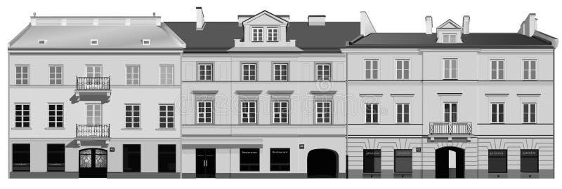 klassiska facades stock illustrationer