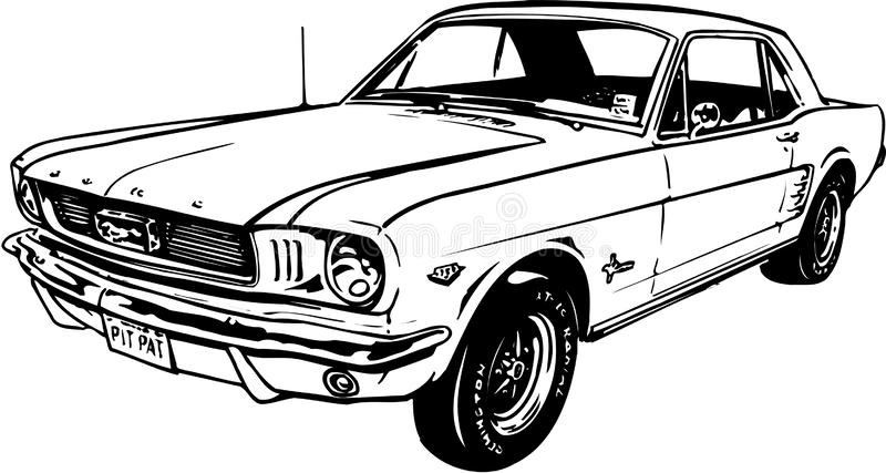 Klassiska Ford Mustang Illustration royaltyfri illustrationer