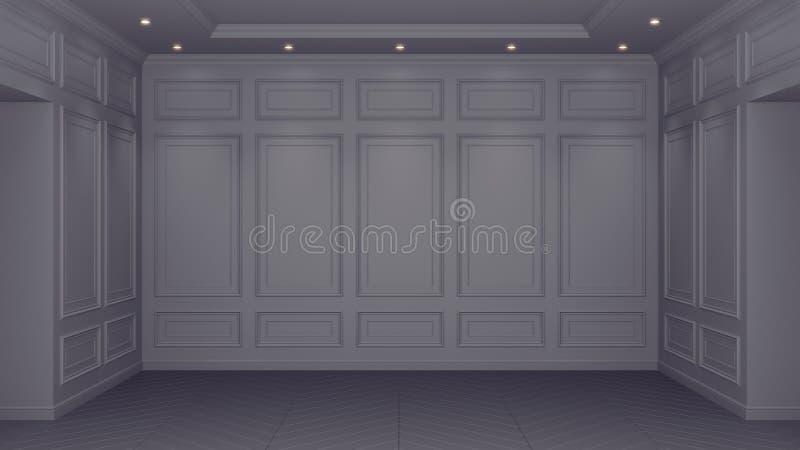 Klassiska grå färger som är inre med kopieringsutrymme R?da v?ggar med den klassiska dekoren Golvparkettfiskbensm?nster framf?ran stock illustrationer
