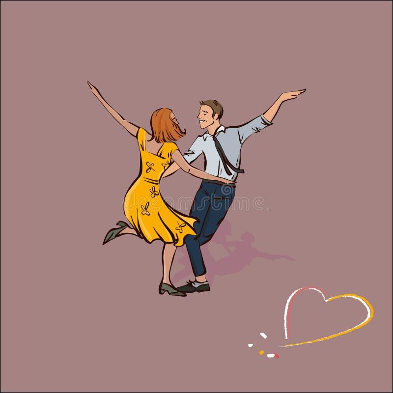 Klassiska par som dansar gunga eller, vaggar - och - rulle, vektorillustration stock illustrationer