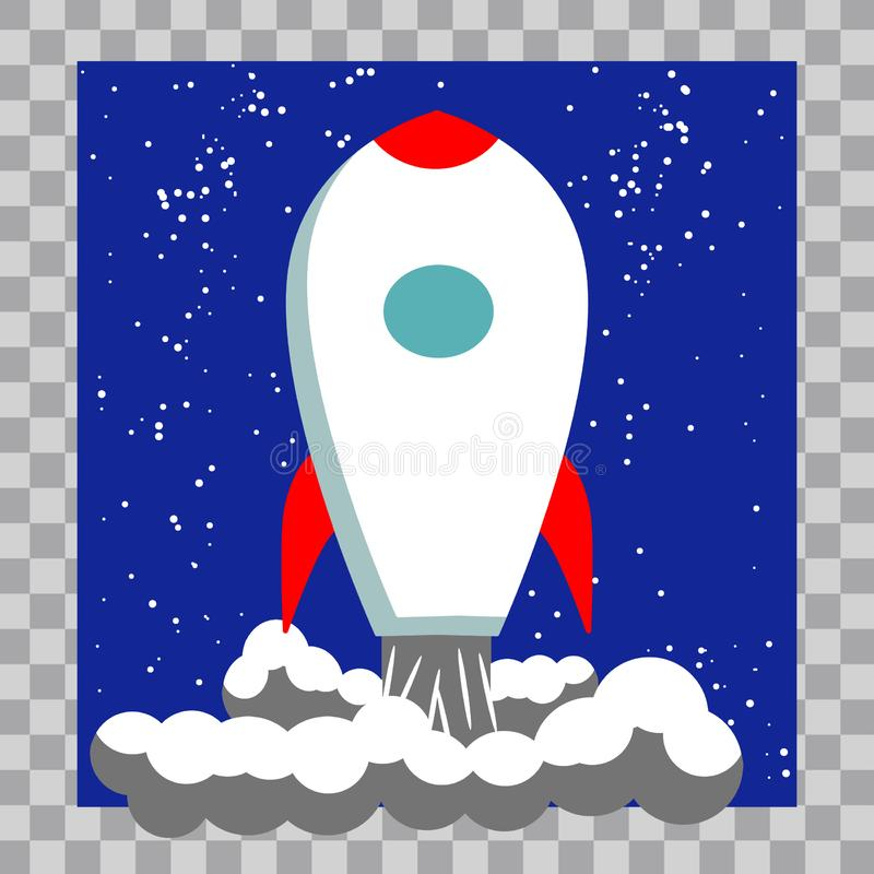 Klassiska Rocket Space Ship Illustration arkivbild