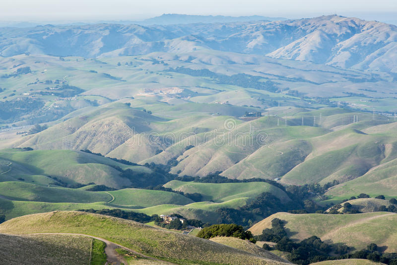 Klassiska Rolling Hills i den regionala östliga fjärden parkerar av Alameda County i Kalifornien royaltyfri foto