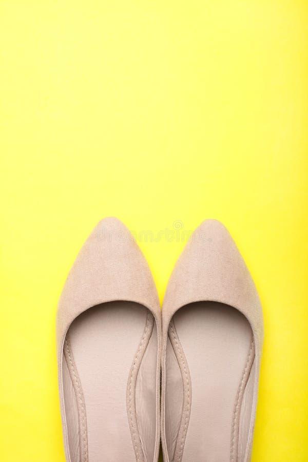 Klassiska trendiga v?rkvinnors skor f?r mockaskinn fotografering för bildbyråer
