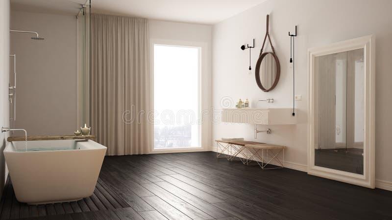 Klassiskt badrum, modern minimalistic inredesign royaltyfri fotografi