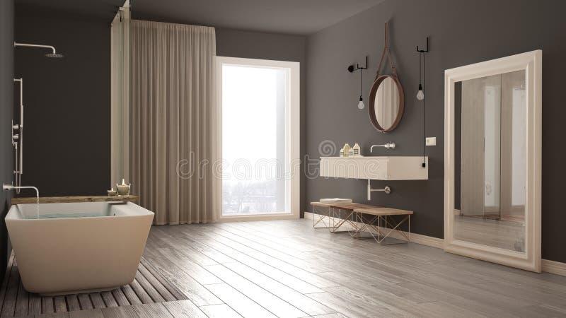 Klassiskt badrum, modern minimalistic inredesign fotografering för bildbyråer
