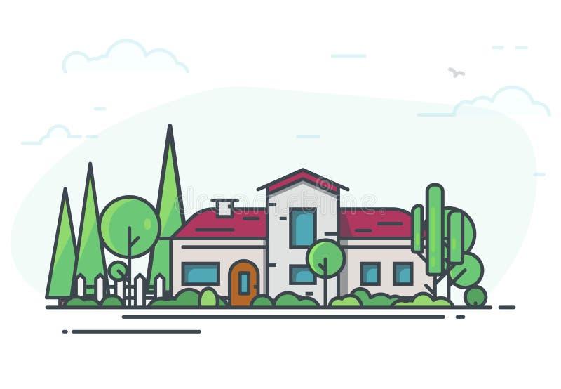 Klassiskt hus med trädgården vektor illustrationer