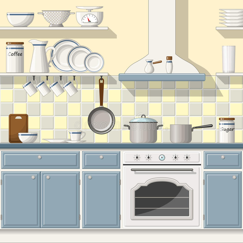 klassiskt kök stock illustrationer