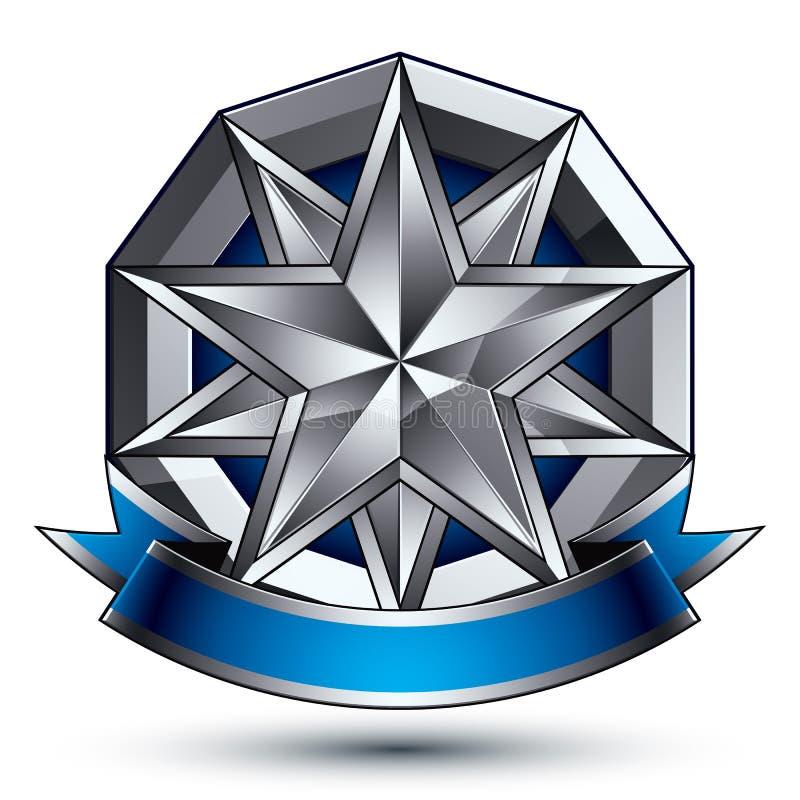 klassiskt kungligt symbol för vektor 3d, silveremblem stock illustrationer